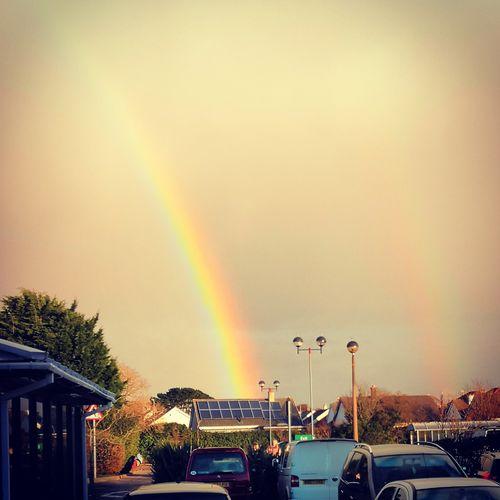 Multi Colored Rainbow Double Rainbow Sky
