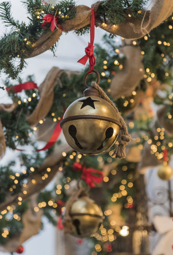 Close-up of christmas decoration hanging on tree