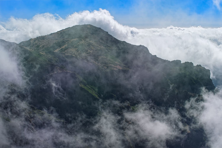 Scenic view of mountain in dense clouds. pico do arieiro on portuguese island of madeira