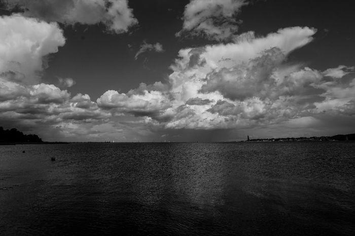Sea Sea And Sky Sky And Clouds Beach Seaside Enjoying The Sun Blackandwhite Black And White Black & White