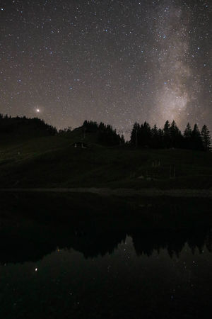 Astrology Astronomy Astrophotography Beauty In Nature Galaxy Lake Lake View Milky Way Mountain Nature Night No People Plant Reflection Scenics - Nature Sky Space Star Star - Space Star Field Tranquil Scene Tranquility Tree Water