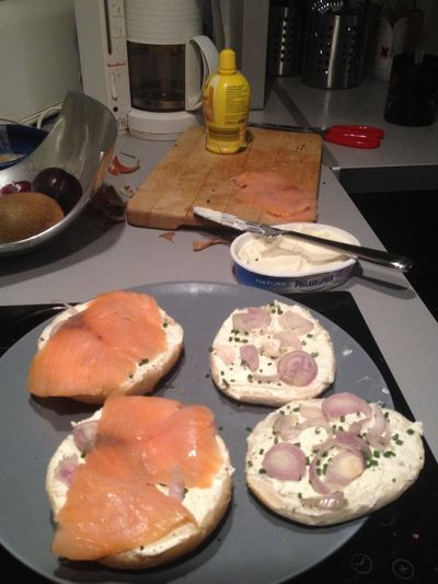 the best meals in life are made at home. bagels!!!