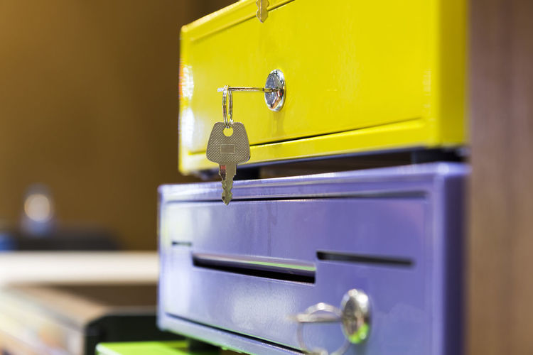 Modern Blue Close-up Container Drawer Drawers Entrance Faucet Focus On Foreground Handle Indoors  Latch Metal No People Protection Safety Security Selective Focus Still Life Technology Wood - Material Yellow
