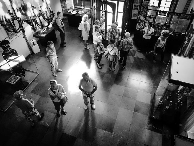 Afternoon at the Museum Museum People Of EyeEm Exhibition Tourists Trip Artlovers Taking Photos High Angle View Blackandwhite Photography Torun, Poland