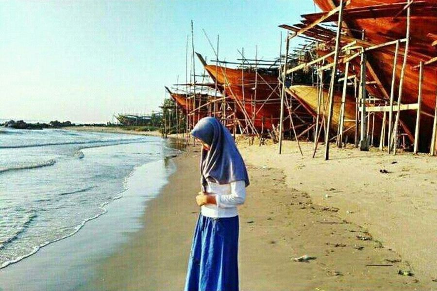 Travel religi Outdoors Sunsets Natural Boats⛵️ Sea Travel Landscape Beauty Hijabstyle  One Person