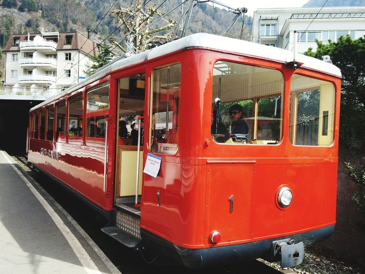 Switzerland Red Train An Eye For Travel Red Transportation Outdoors Public Transportation Nature