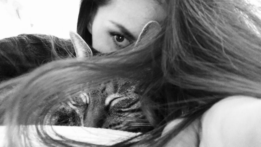 Woman Cat Girl And Her Cat Young Loving Care Eye Hair Protection CatWomen Look Pet Portraits