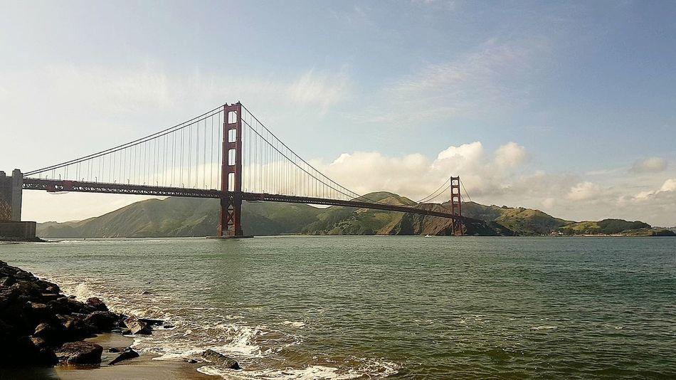 San Francisco Suspension Bridge Architecture Beach Travel Golden Gate Bridge Sanfran California Travel Destinations Day Water Engineering