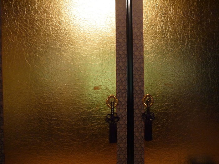 Gold Japanese Paper Door Gold Colored Illuminated Indoors  Lighting Equipment No People Paper