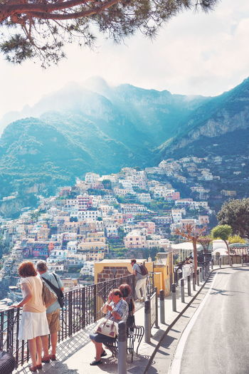 Mountain Outdoors Day Lifestyles People Tree Snow Cold Temperature Sky Large Group Of People Winter Nature Adult City Adults Only positano amalfi italy