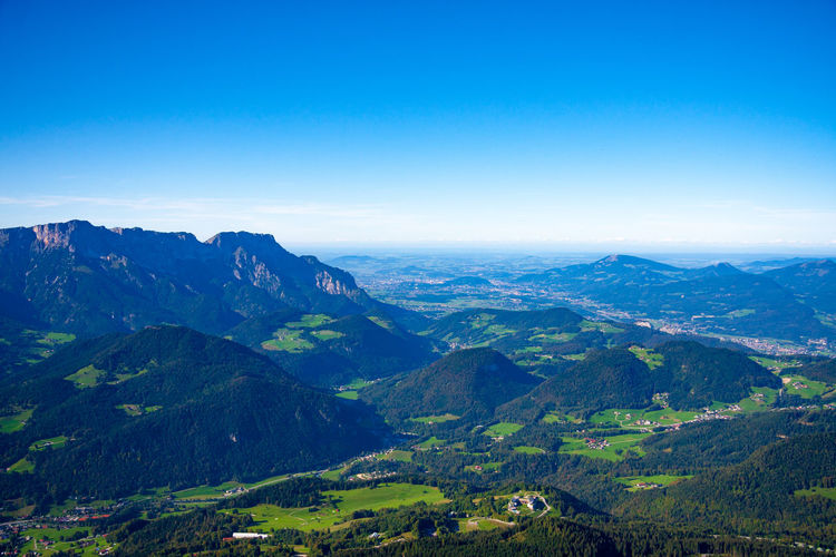 View from Kehlsteinhaus towards alpine upland in Bavaria, Germany and Salzburg, Austria Bavaria Kehlsteinhaus (Eagle's Nest) Beauty In Nature Clear Sky Copy Space Day Environment Horizon Idyllic Land Landscape Mountain Mountain Peak Mountain Range Nature No People Non-urban Scene Outdoors Salzburg Scenics - Nature Sky Tranquil Scene Tranquility Untersberg Valley