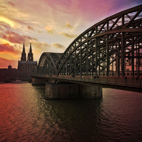 Hohenzollernbrücke and Cologne cathedral Architecture Bridge - Man Made Structure Cathedral Cityscape Cologne Cologne Cathedral Dom Famous Place Hohenzollernbrücke Idyllic International Landmark Kölner Dom Sundown Sunset Typical German Urban