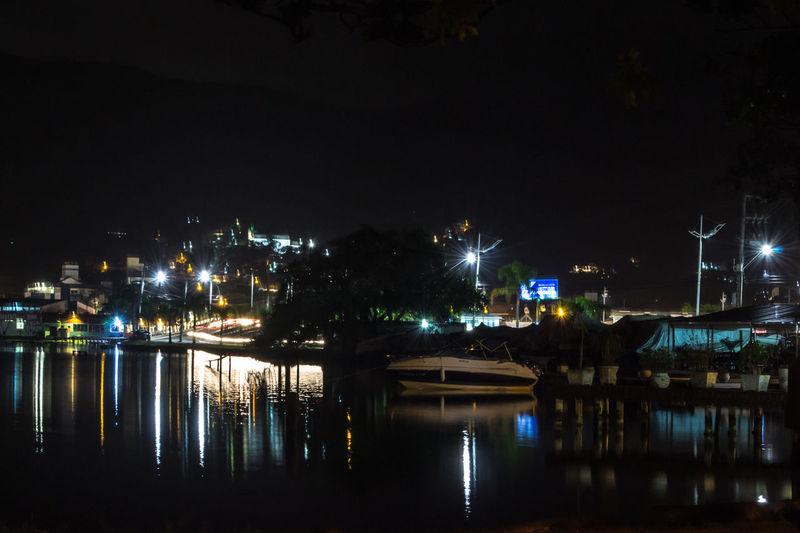 Florianópolis Floripa Lagoa Da Conceição Illuminated Long Exposure Night Outdoors Reflection Water