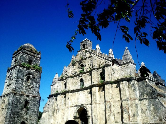 Paoay Church Low Angle View History Architecture Building Exterior Blue