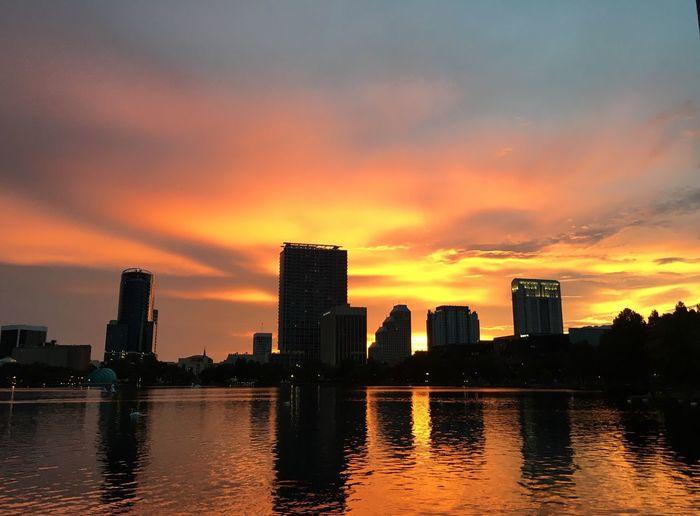 Beautiful sunset at Lake Eola in Downtown Orlando. Sunset City Lake Eola Park Sunset Silhouettes