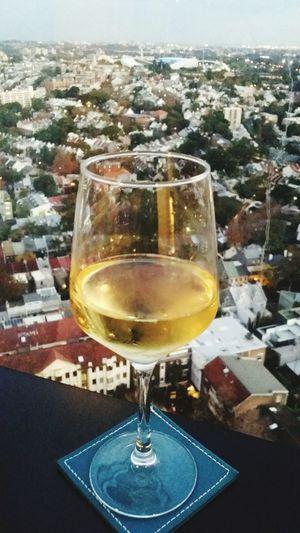 Glass of wine from my balcony Sydney
