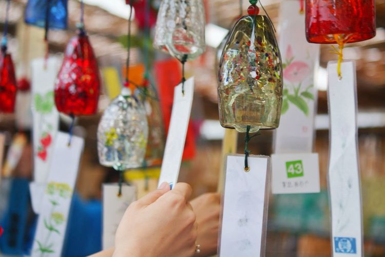 Wind chimes 風鈴 夏の音 涼 川崎風鈴祭り Japanese Sense Of Chill Chilling Wind Chime Human Body Part Human Hand Hanging One Person Human Finger Focus On Foreground Close-up Holding Real People