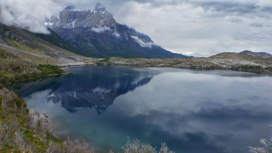 Reflection Lake Mountain Water Landscape Mountain Range Outdoors Travel Destinations Cloud - Sky Nature Beauty In Nature Scenics Landscape_photography Backpacking Torres Del Parque Patagonia Chile Mountains Mountains And Snow Enjoying Life Taking Photos The Great Outdoors - 2017 EyeEm Awards