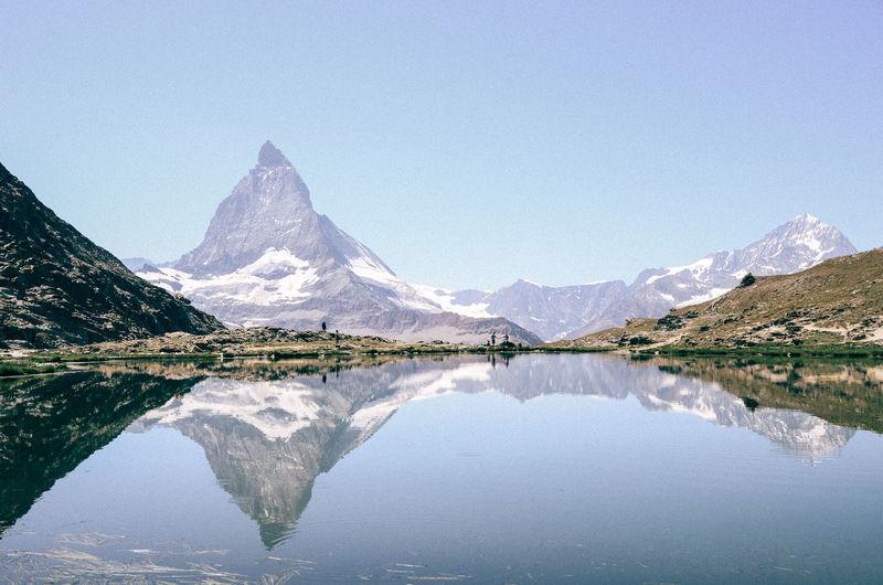 Clear Sky Reflection Zermatt Alps Lake Landscape Mountain Swiss Switzerland