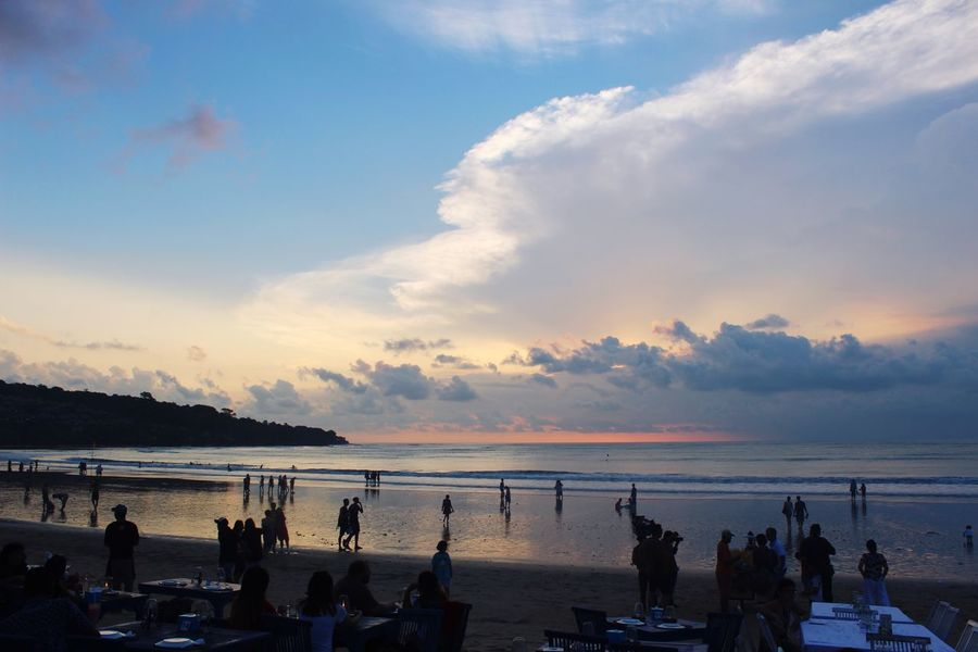 Sunset Sea Sky Beach Cloud - Sky Water Silhouette Real People Leisure Activity Large Group Of People Scenics Vacations Horizon Over Water
