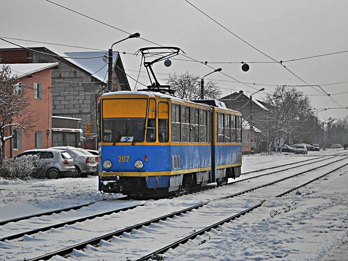Snow Cold Temperature Winter Transportation Railroad Track Mode Of Transport Public Transportation Outdoors Day Nagyvárad Oradea,România Urban Romania City Street Tram Tramway Villamos Tatra Kt4d Blue Yellow