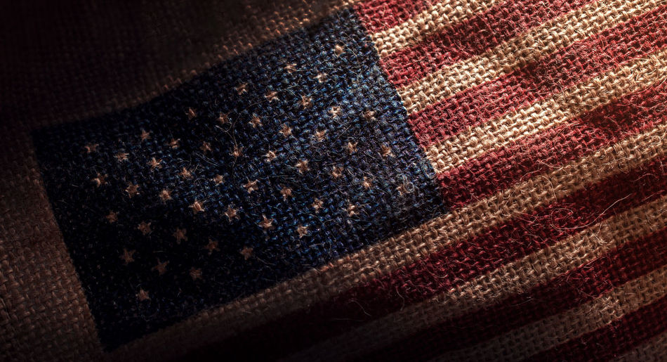 American USA Flag printed on Dark Grunge Burlap Sack , Closeup shot USA United States Amercan Backgrounds Casual Clothing Close-up Denim Flag Garment High Angle View Leather Material Multi Colored No People Pattern Still Life Studio Shot Textile Textured  Textured Effect Wool