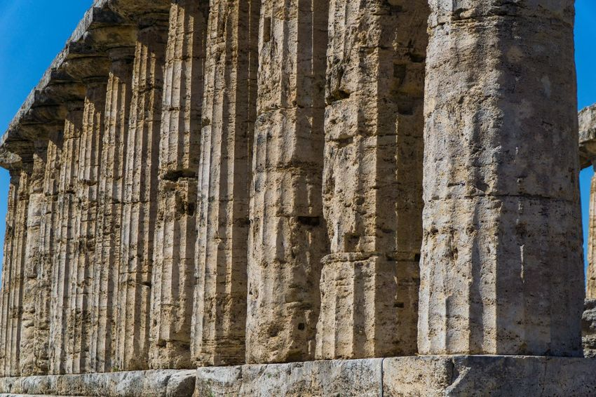 Paestum Roman ruins, Italy Temple Roman Ruins Built Structure Architecture No People Day History The Past Pattern Outdoors Sunlight Building Exterior Old Ruin Old Building Weathered Wall - Building Feature Low Angle View Religion Ancient Nature Ancient Civilization