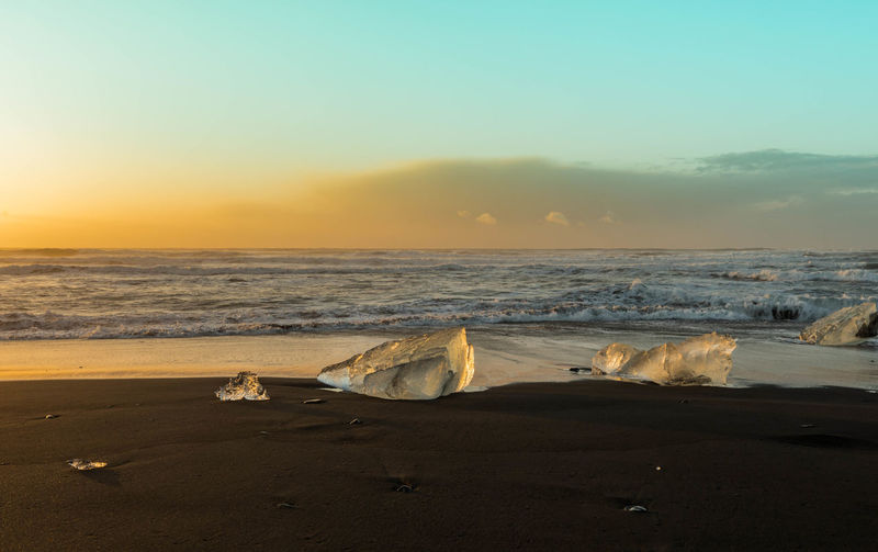 Beach Beauty In Nature Cold Temperature Day Horizon Over Water Ice Long Exposure Mammal Nature No People Outdoors Reflection Of Sun Sand Scenics Sea Sky Sunrise Sunset Tranquil Scene Tranquility Water Wave