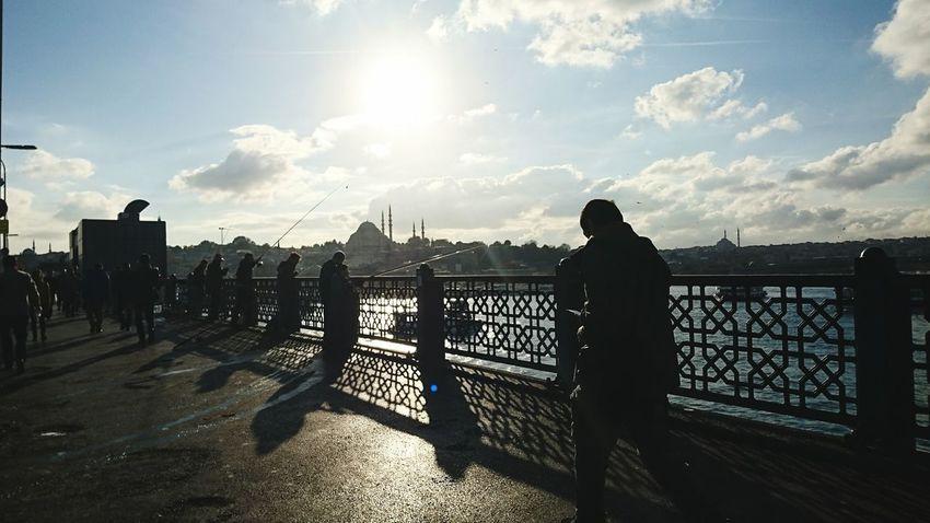 Silhouette Sunlight Men Sky People Istanbul Galata OnTheBridge Bridge Shadow Shadows & Lights Fishing