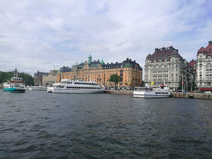 Stockholm Sweden Capital City Waterfront Stockholm View Sweden Summer Water Cityscape Mode Of Transport Nautical Vessel Building Exterior Architecture Outdoors Sailing Ship Sailboat Day Sky Moored Travel Destinations Travel Photography Travel HuaweiP9 Clouds And Water City Photography