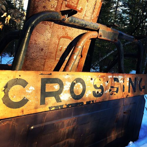 The things you find. Metal No People Abandoned Rusty Day Outdoors Close-up Railroad Signs Crossing Signboard Jeep Truckbed