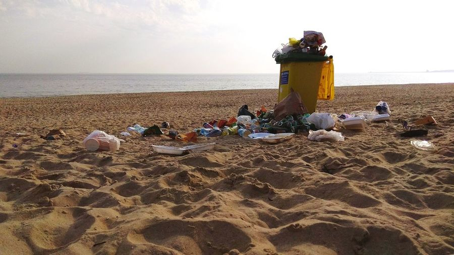 Welcome to the seaside... Sadness Plastic Plastic Garbage Junk Yellow Plasticsucks End Plastic Pollution Water Sea Sand Pail And Shovel Beach Sunset Sand Summer Sky Horizon Over Water