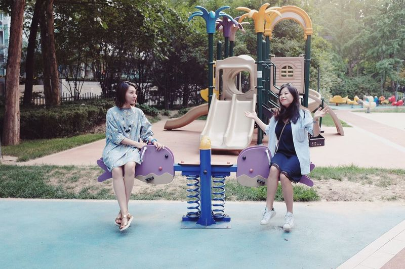 People Together Weekend Friends Teeter-totter Girls Colour Of Life