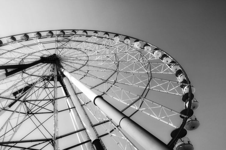 Wheel Georgia Blach&white Batumi monochrome photography Amusement Park Ride Amusement Park Ferris Wheel Low Angle View Arts Culture And Entertainment Sky No People Geometric Shape Shape Day Circle Leisure Activity Pattern Metal Clear Sky Outdoors