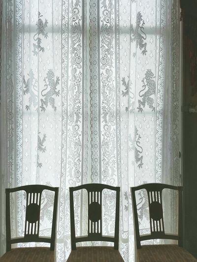 Pattern Indoors  Window Architecture No People Soestdijk Palace Estate Soestdijk Monument Antique Furniture Chairs Luxury Curtains Architecture Indoors  Palace Lace Curtain Coat Of Arms Lion