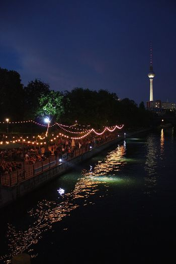 """Summer in Berlin"" Monbijoupark Monbijoubrücke Fernsehturm Berlin  Water Water Reflections Bode Museum Night Night Photography People Dancing Fairy Lights Bridge"
