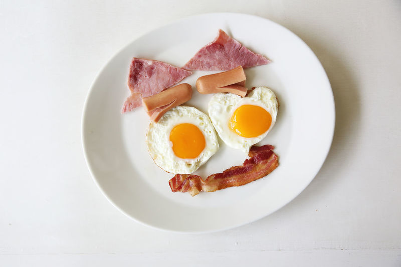 Egg Food Food And Drink Pork Breakfast Processed Meat Meat Fried Ready-to-eat Fried Egg Plate Healthy Eating Meal Bacon Indoors  White Background Freshness Wellbeing Directly Above Still Life Sunny Side Up Egg Yolk No People