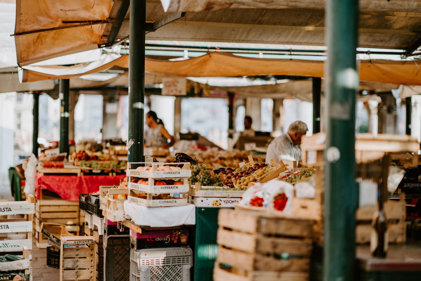 Fresh fruit and vegetables at a local market in Venice. Under Cover Business Crate Crates Food Fresh Fresh Fruit Fresh Fruit And Vegetables Fresh Fruits Market Retail  Small Business
