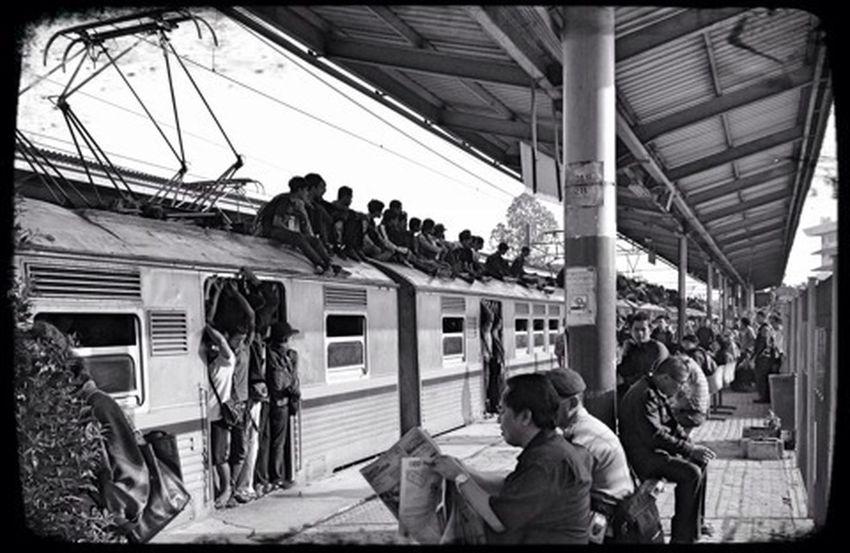 Commuting Rush Hour Riding The Train Indonesia_allshots