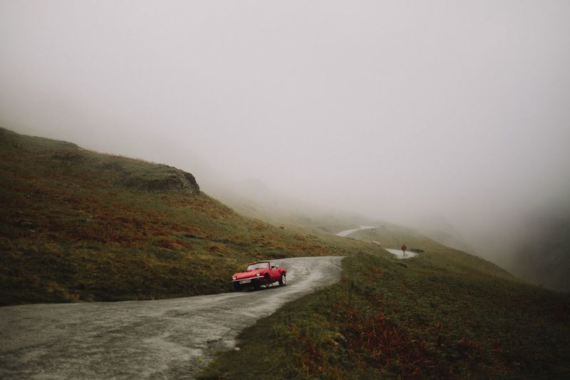 www.frsphoto.co www.instagram.com/felixrussellsaw Moody Misty Mist Mountain Red Fog Transportation Beauty In Nature Nature Scenics - Nature Road Mountain Environment Motor Vehicle Car Land Vehicle Day