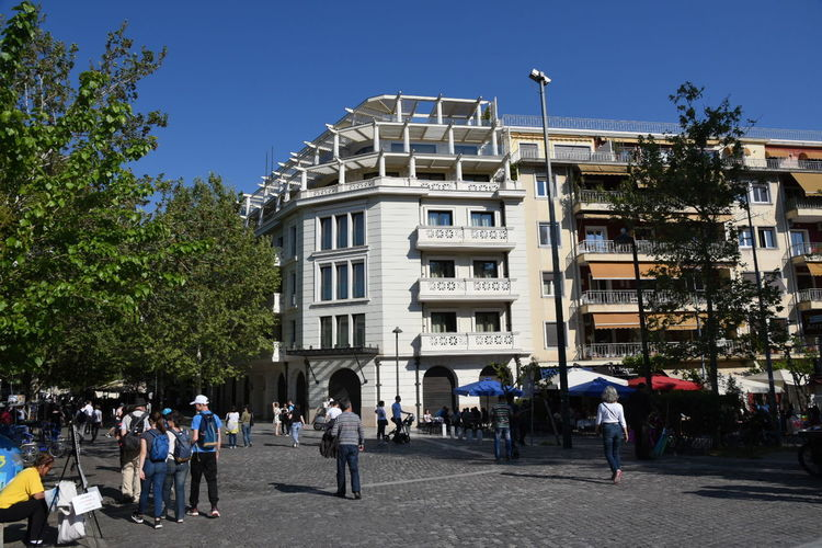 Athens, Greece Outdoors Clear Sky Sky City Large Group Of People Acropolis Museum Building Exterior Walking Tree Architecture People Day