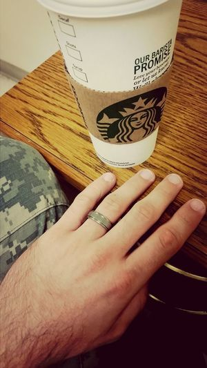 The uniform because I love my country, the ring because I love her, the coffee because I love myself. Merica Loveher Coffee