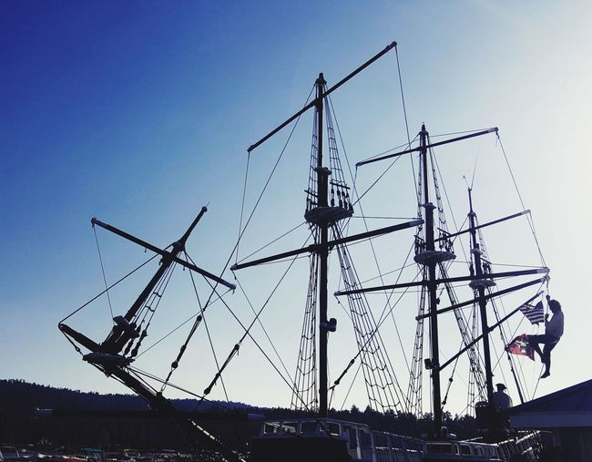Investing In Quality Of Life Outdoors Low Angle View Day Clear Sky Sky Nature Silhouette EyeEm Selects Sailor Sailboats Sailing Pirate Ship Outside Nature Riverside Photography Riverscape