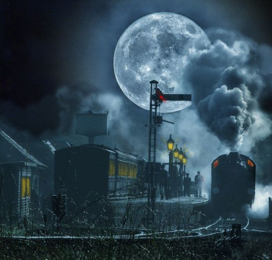 The Night Train Railway Sky Night Science Cloud - Sky Space Moon Dark