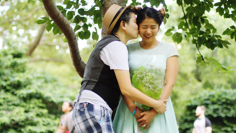 Two People Smiling Togetherness Women Casual Clothing Happiness Tree Love Day Mid Adult Mid Adult Women Cheerful Young Women Young Adult Adults Only Outdoors Adult Real People Lifestyles Couple - Relationship Newyork Pride Loveislove Rainbow Jenae