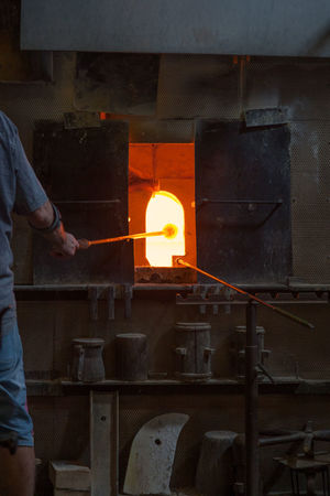 Furnace in traditional glass factory Crafting Craftsman Furnace Glass - Material Glass Factory Glass Foundry Glassmaker Handcraft Melting Melting Furnace Profession