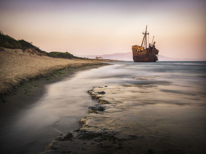 Wreck Abandoned Beach Beachphotography Gythio Horizon Over Water Nature Nautical Vessel Outdoors Sea Ship Shipwreck Shipwrecked Sky Sunset Tranquility Transportation Vassel Water