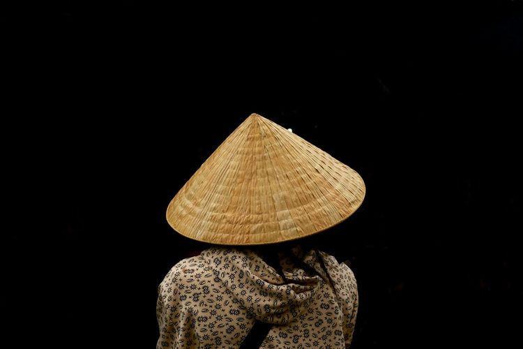 Hat Vietnamese Asian Style Conical Hat Black Background Clothing Dark From The Back One Person
