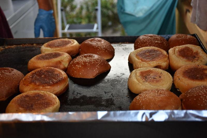 Buns of bread prepared for making hamburger