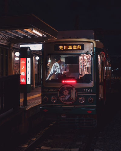 View of train at night